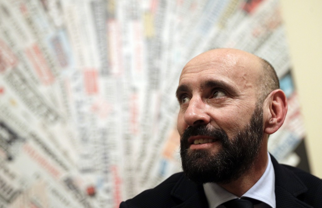 FILE - In this file photo dated Wednesday, March 28, 2018, Roma sports director Ramon Rodriguez Verdejo, known as Monchi, talks to journalist during a