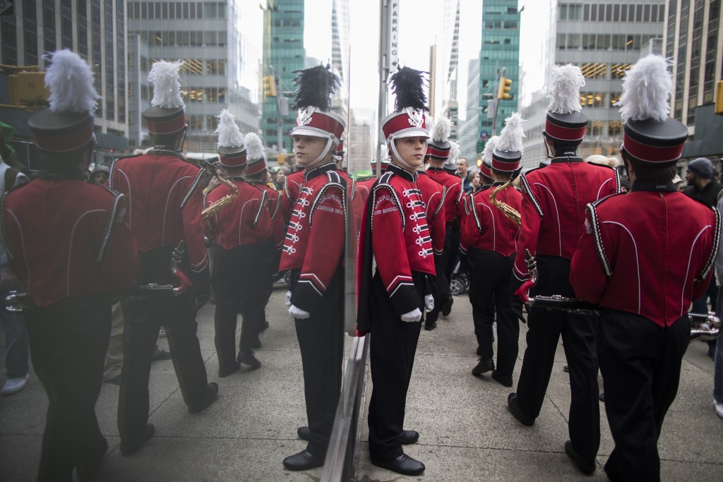 Members of a band line up before marching up Fifth Avenue during the St. Patrick's Day Parade, Saturday, March 16, 2019, in New York. (AP Photo/Mary A