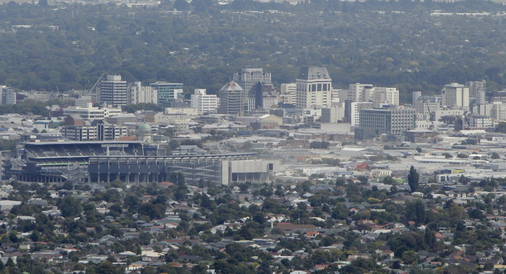 FILE - In this Feb. 28, 2011, file photo, a general view of Christchurch's central business district is seen in New Zealand. Despite its tranquility a