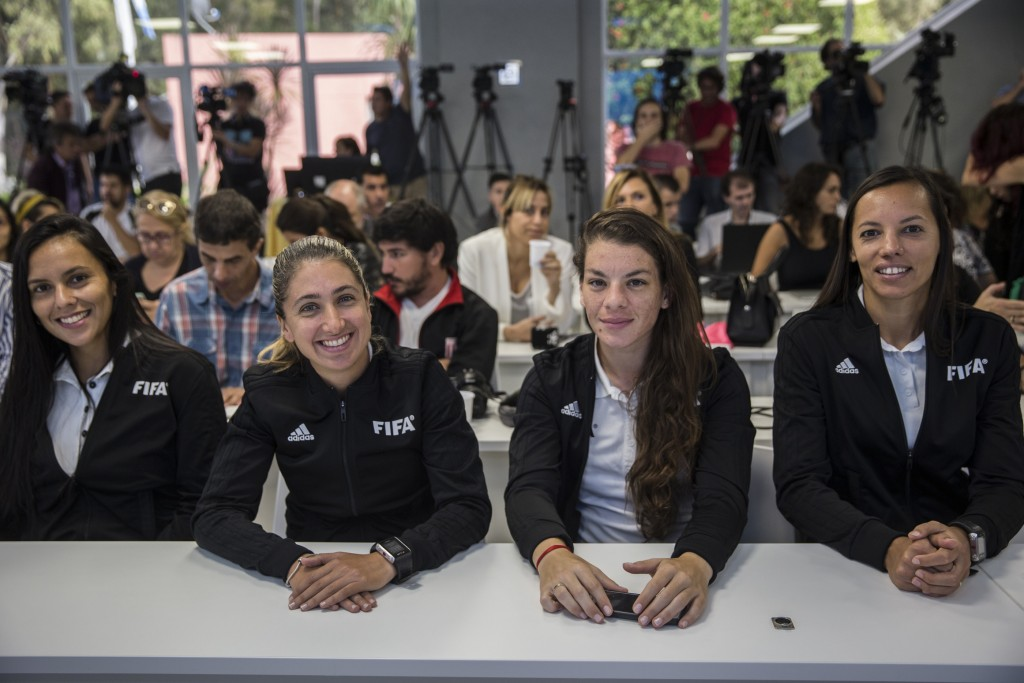Female referees attend a press conference to announce the early implementation of a plan to professionalize women's soccer in Buenos Aires, Argentina,...