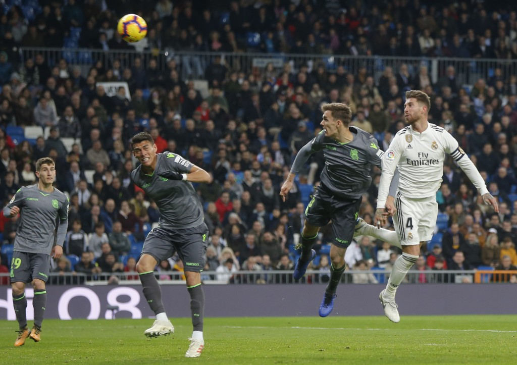 Real Madrid's Sergio Ramos sheds the ball during a Spanish La Liga soccer match between Real Madrid and Celta at the Santiago Bernabeu stadium in Madr