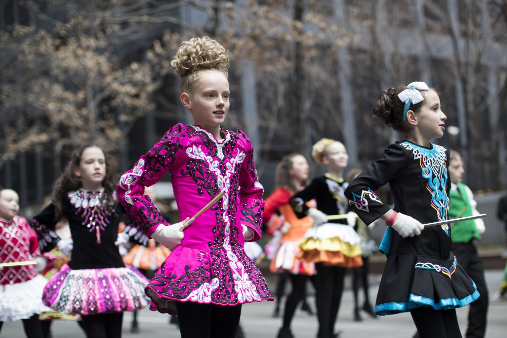An Irish dance group rehearses ahead of participating in the St. Patrick's Day Parade, Saturday, March 16, 2019, in New York. (AP Photo/Mary Altaffer)
