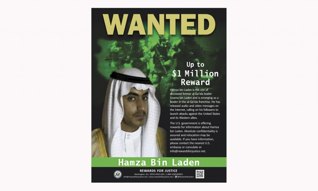 This wanted poster released by the U.S. Department of State Rewards for Justice program shows Hamza bin Laden. Years after the death of his father at