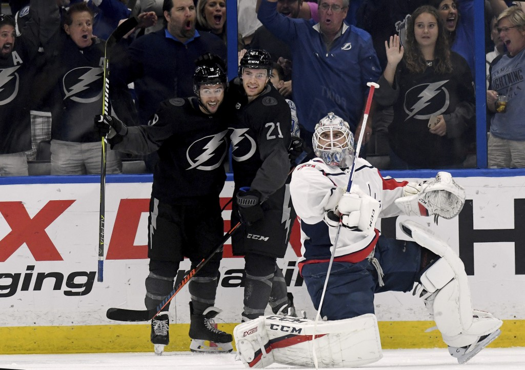 Tampa Bay Lightning Tyler Johnson (9) and Brayden Point (21) celebrate Johnson's first period goal as Washington Capitals goaltender Braden Holtby (70