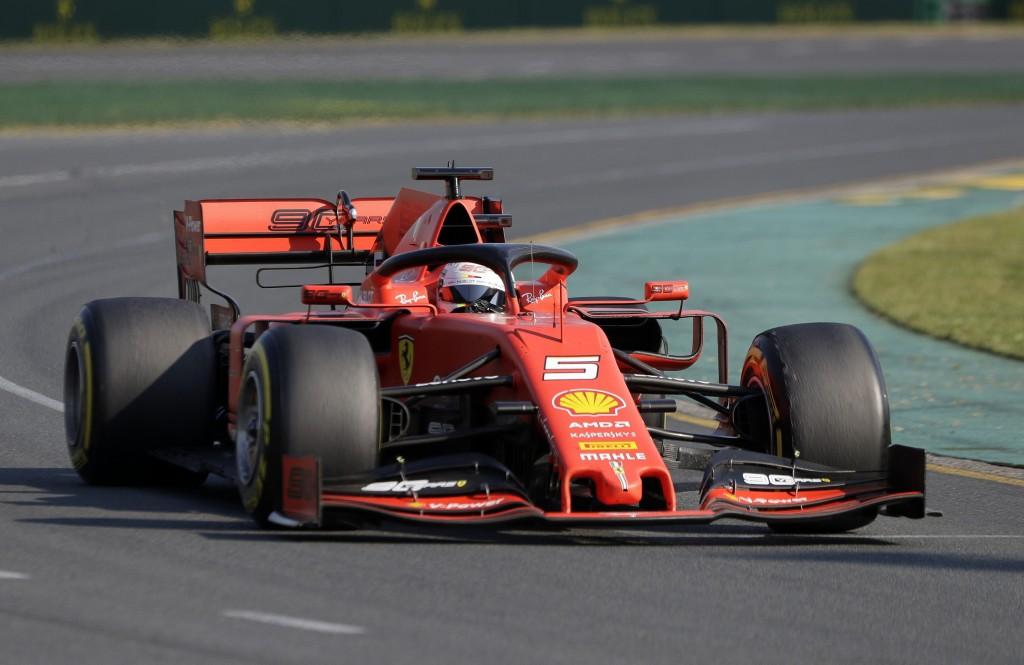 Ferrari driver Sebastian Vettel of Germany goes through turn 2 during the Australian Formula 1 Grand Prix in Melbourne, Australia, Sunday, March 17, 2