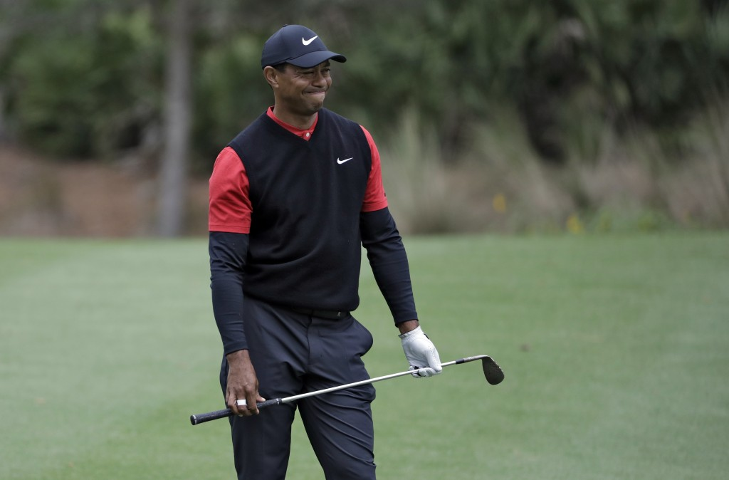 Tiger Woods reacts to his shot from the 10th fairway during the final round of The Players Championship golf tournament Sunday, March 17, 2019, in Pon...