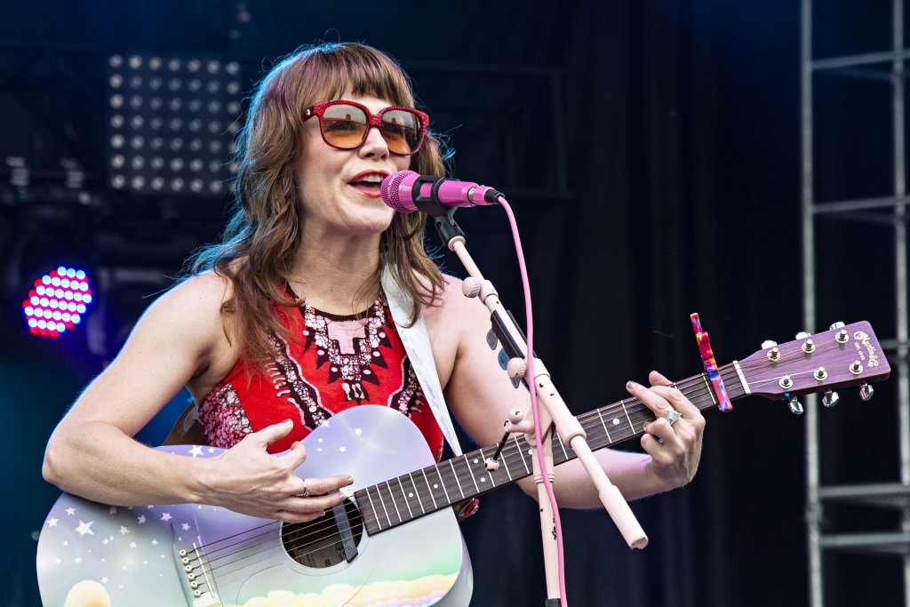 """FILE - This July 14, 2018 file photo shows Jenny Lewis performing at the Forecastle Music Festival in Louisville, Ky. Lewis' latest album, """"On the Lin..."""