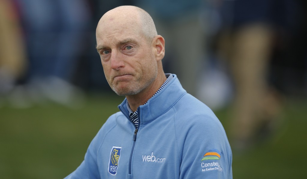 Jim Furyk reacts after finishing the final round of The Players Championship golf tournament Sunday, March 17, 2019, in Ponte Vedra Beach, Fla. (AP Ph...