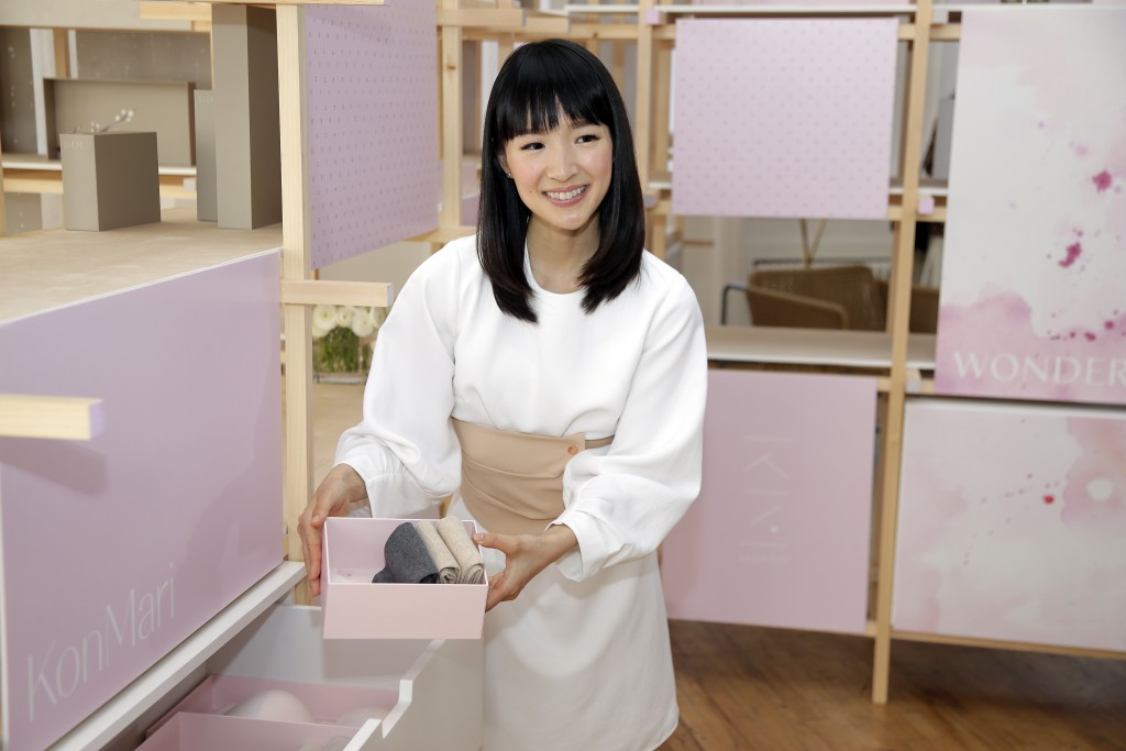 FILE- In this July 11, 2018, file photo, Japanese organizational expert Marie Kondo introduces her new line of storage boxes during a media event in N