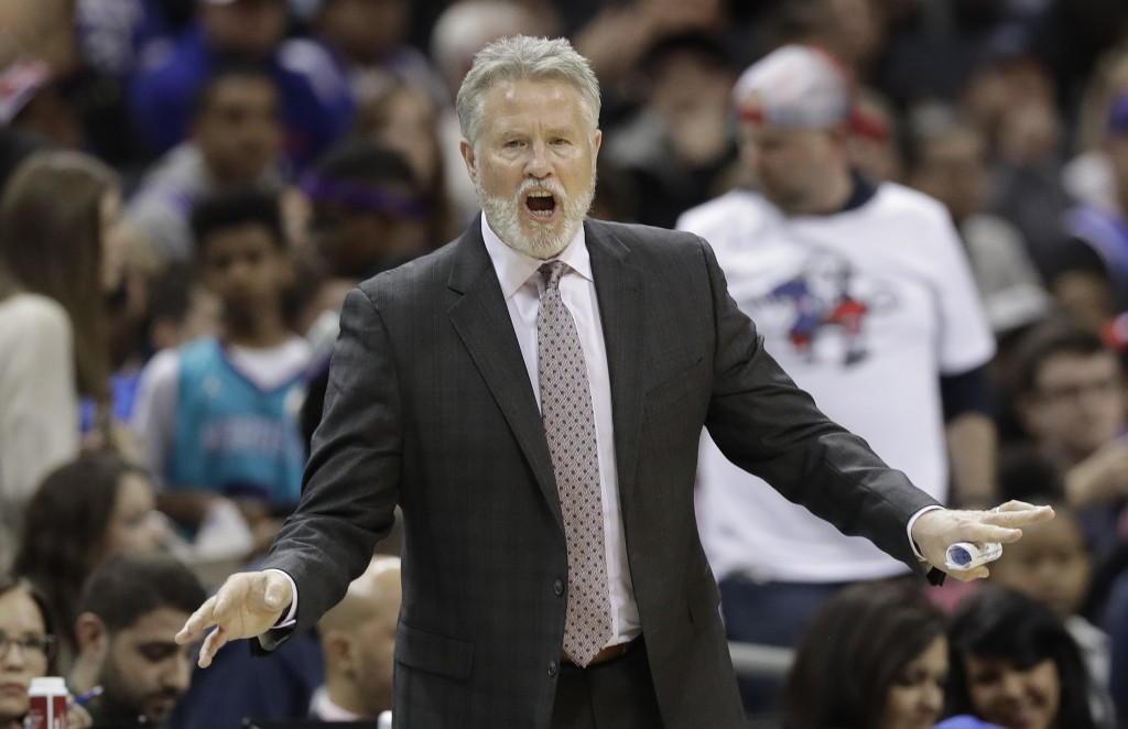 Philadelphia 76ers head coach Brett Brown reacts to a call during the first half of an NBA basketball game against the Charlotte Hornets in Charlotte,