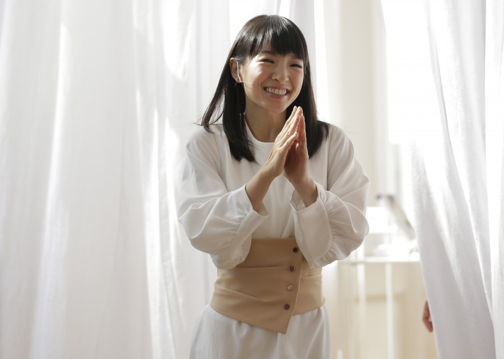 FILE- In this July 11, 2018, file photo, Japanese organizational expert Marie Kondo appears at a media event to introduce her new line of storage boxe