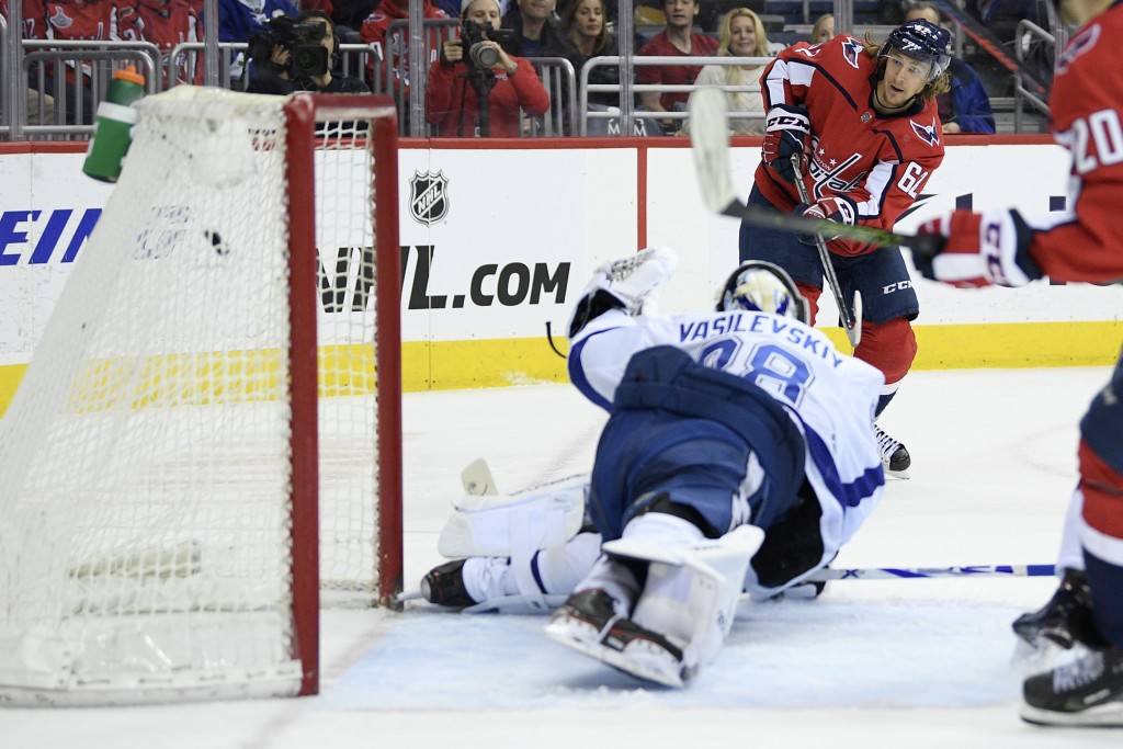 Washington Capitals left wing Carl Hagelin (62) scores a goal against Tampa Bay Lightning goaltender Andrei Vasilevskiy (88), of Russia, during the se