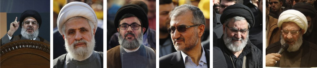 FILE - This combination of six portraits shows Lebanese Hezbollah's senior leadership who the U.S. put under heavy sanctions in May 2018, from left to