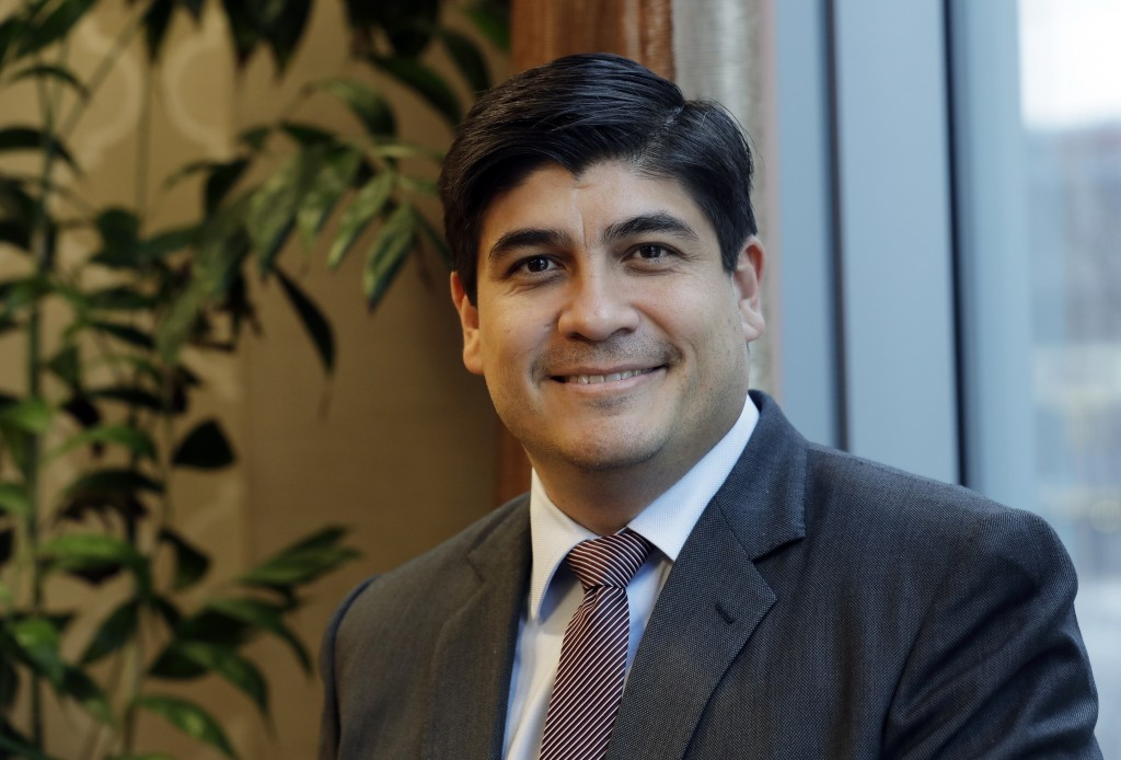In this Monday, March 11, 2019, photo, Costa Rican president Carlos Alvarado poses for a photo before an interview with The Associated Press in Seattl