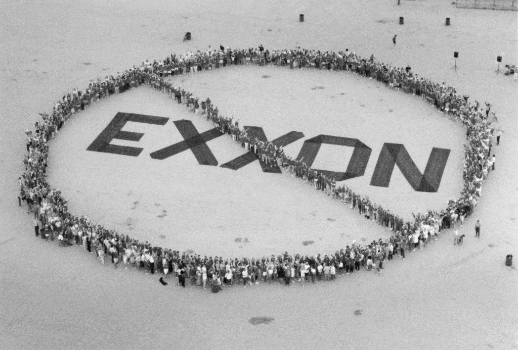 FILE - In this July 17, 1989, file photo, around 200 people showed up at Fiesta Island in San Diego, to protest the use of Exxon products. The Exxon V