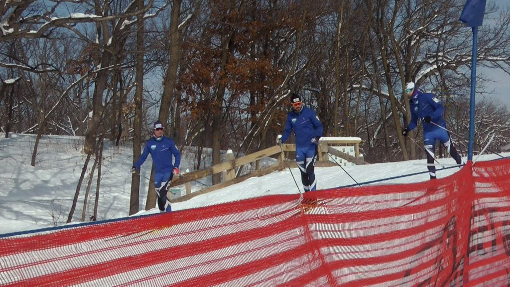 In this Feb. 14, 2019 photo, cross-country skiers practice at Theodore Wirth Regional Park in Golden Valley, Minn. Since 1970, Minnesota's winters hav