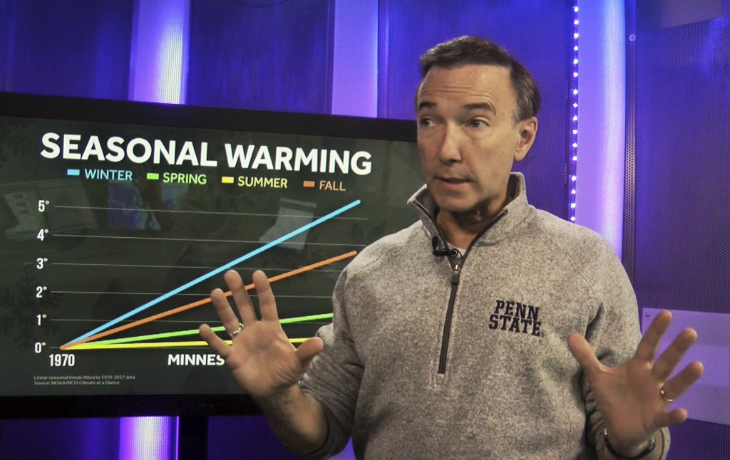 """In this Feb. 21, 2019 photo, meteorologist Paul Douglas, shown in his Eden Prairie, Minn. studio, says Minnesota has """"lost some of our winter weather"""