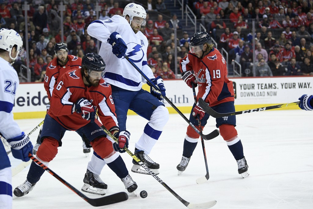 Washington Capitals defenseman Michal Kempny (6), of the Czech Republic, and center Nicklas Backstrom (19), of Sweden, compete for the puck against Ta