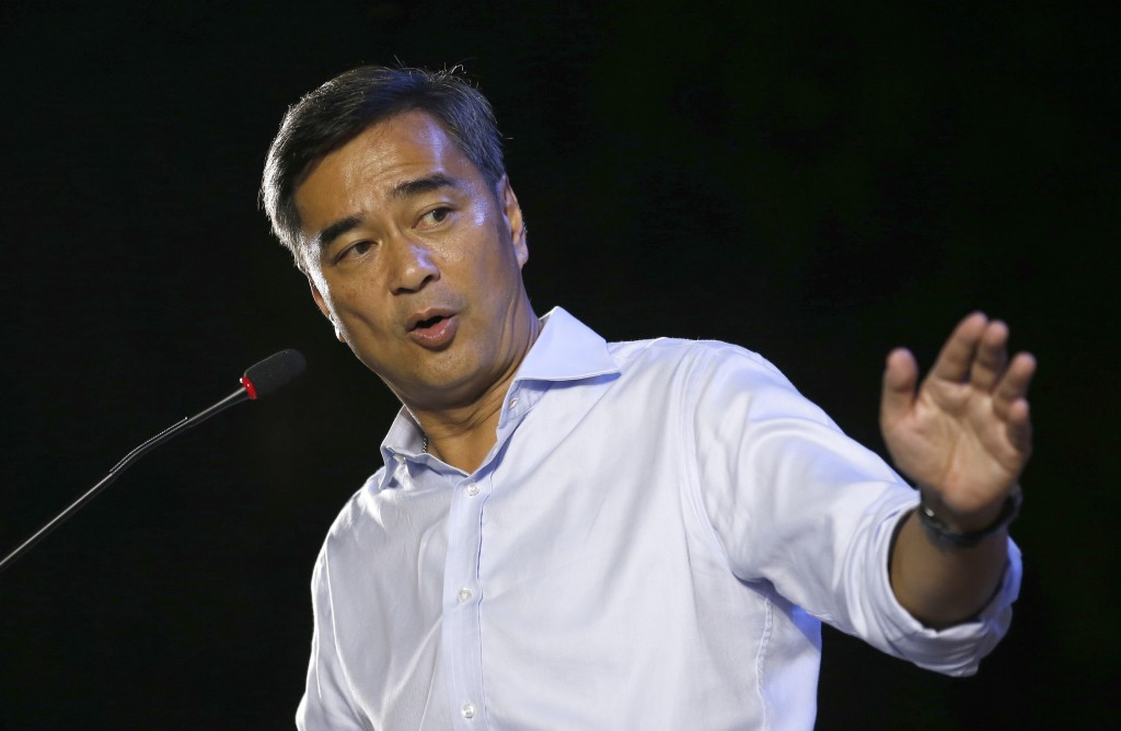 In this Monday, March 18, 2019, photo, the leader of Thailand's Democrat Party and candidate for prime minister Abhisit Vejjajiva delivers a speech to