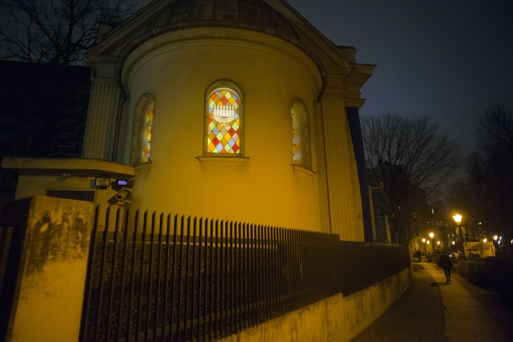 In this Wednesday, March 20, 2019 photo, the windows of the so-called youth-synagogue, the remaining building of the 'Fraenkelufer' synagogue, are ill...