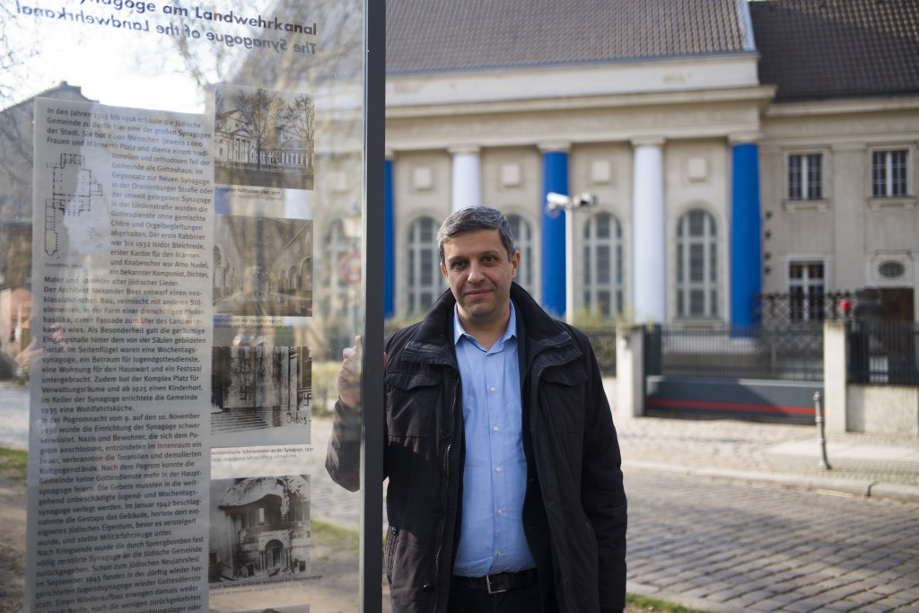 In this Wednesday, March 20, 2019, Palestinian-German politician Raed Saleh poses for a photo near a remembrance plague with information and a photo o...