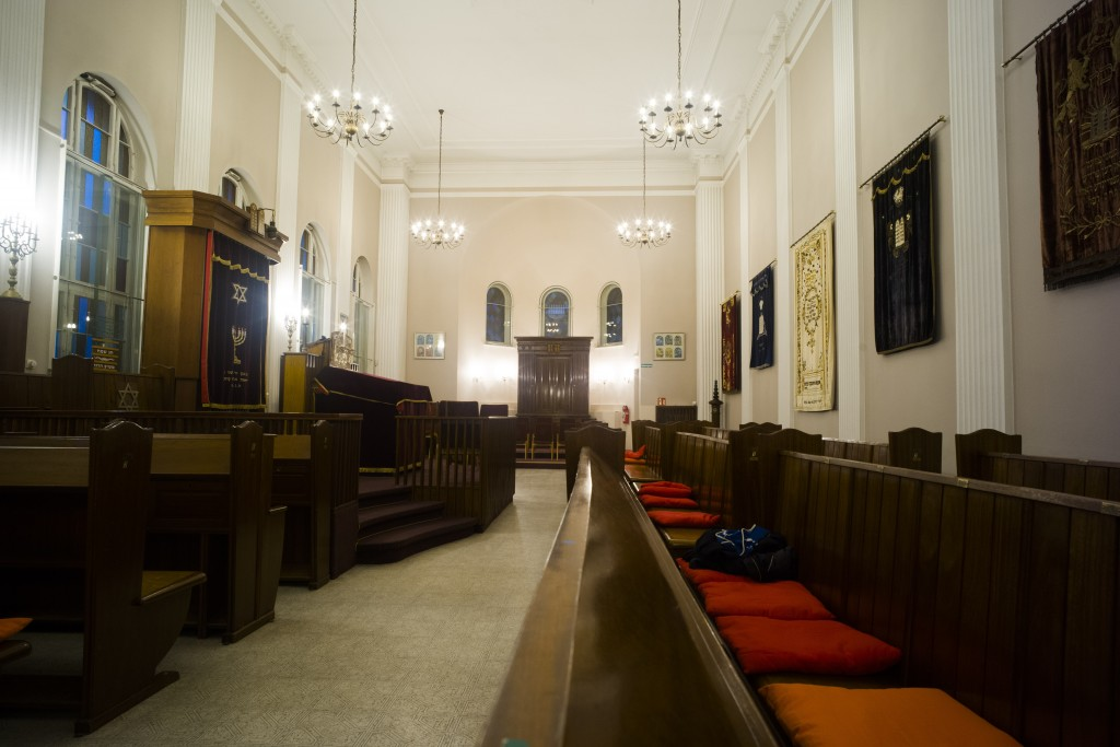 This Wednesday, March 20, 2019 photo shows a view inside the prayer room of the so-called youth-synagogue, the remaining building of the 'Fraenkelufer...