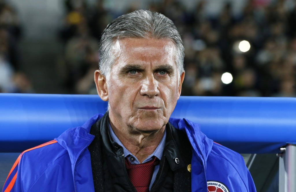 Colombia's coach Carlos Queiroz is seen before a friendly soccer match between Japan and Colombia in Yokohama, Japan, Friday, March 22, 2019. (AP Phot...