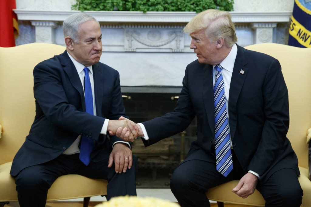 FILE - In this March 5, 2018, file photo, President Donald Trump meets with Israeli Prime Minister Benjamin Netanyahu in the Oval Office of the White
