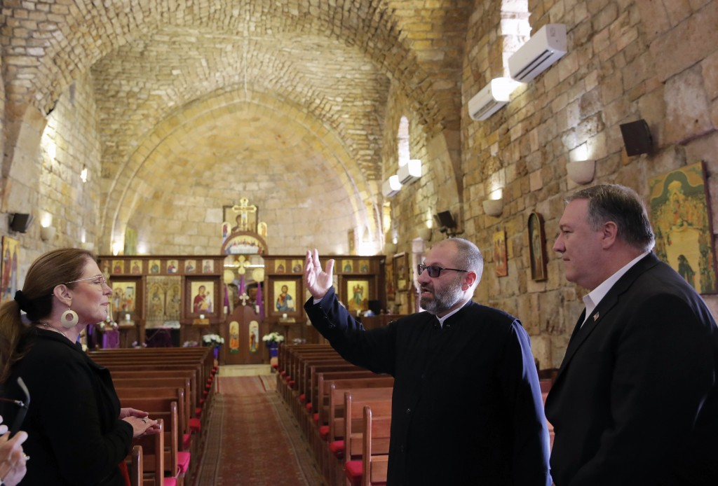 U.S. Secretary of State Mike Pompeo and his wife Susan visit a church at Byblos, Lebanon, Saturday, March 23, 2019. (Jim Young/Pool via AP)