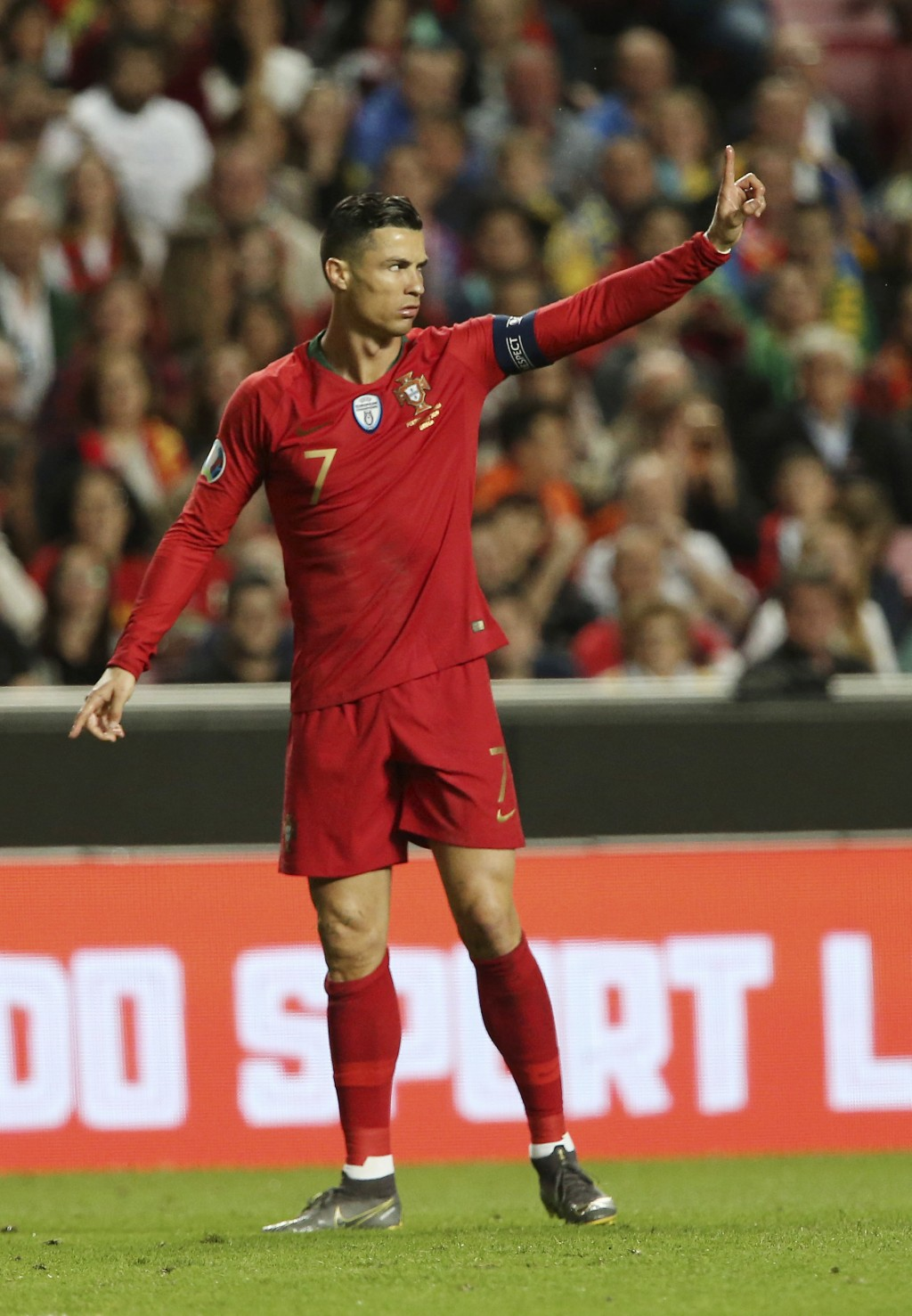 Portugal's Cristiano Ronaldo gestures during the Euro 2020 group B qualifying soccer match between Portugal and Ukraine at the Luz stadium in Lisbon, ...