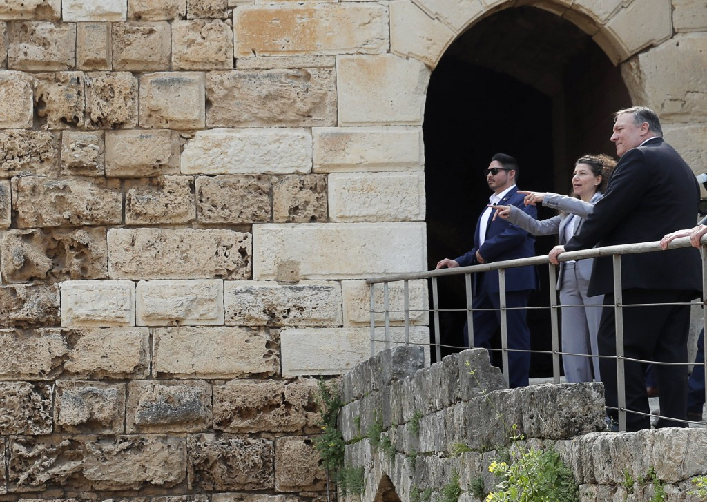 U.S. Secretary of State Mike Pompeo tours the Byblos citadel, in Byblos, Lebanon, Saturday, March 23, 2019. (Jim Young/Pool Photo via AP)