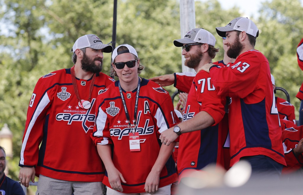FILE - In this June 12, 2018, file photo, Washington Capitals' Alex Ovechkin (8), of Russia; Nicklas Backstrom (19), of Sweden; Braden Holtby (70); an