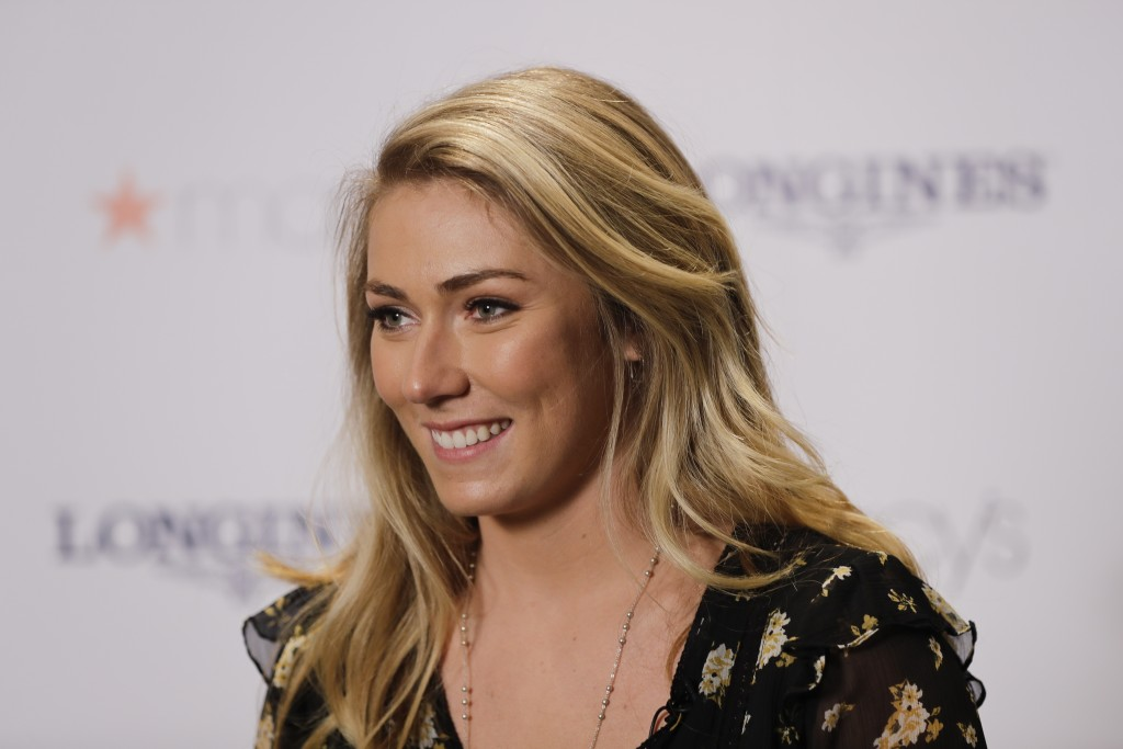 Mikaela Shiffrin listens to a question during a news interview Thursday, March 21, 2019, in New York. The 24-year-old American spent time in New York ...