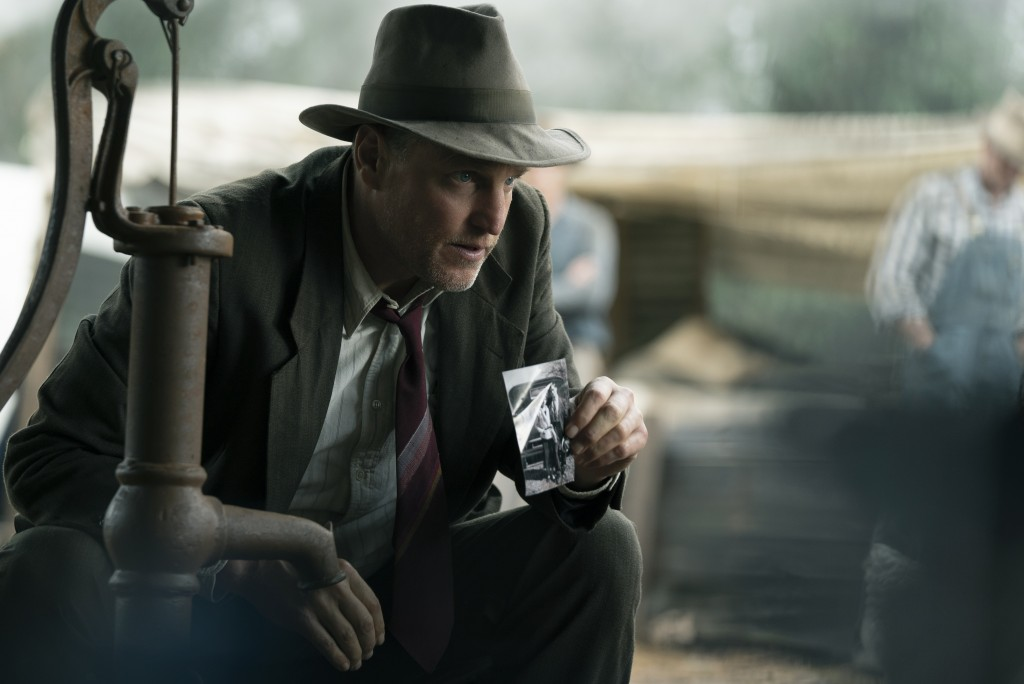 "This image released by Netflix shows Woody Harrelson in a scene from ""The Highwaymen."" (Hilary B Gayle/Netflix via AP)"