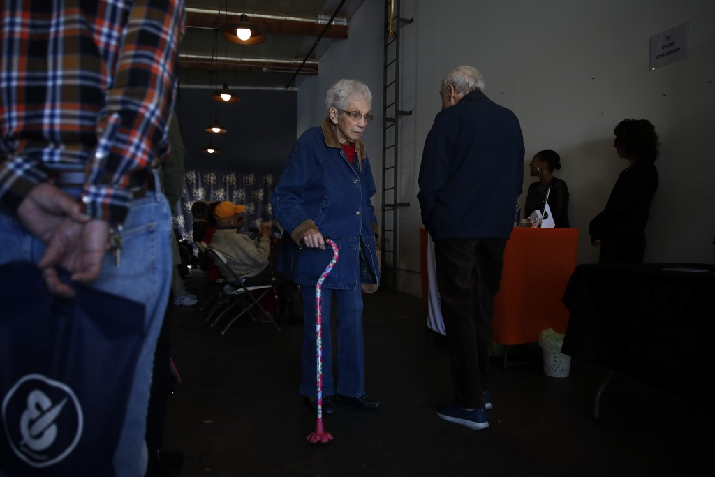 In this Feb. 19, 2019 photo, a group of retired seniors from Laguna Woods Village attend a presentation organized by cannabis product vendors at Bud a