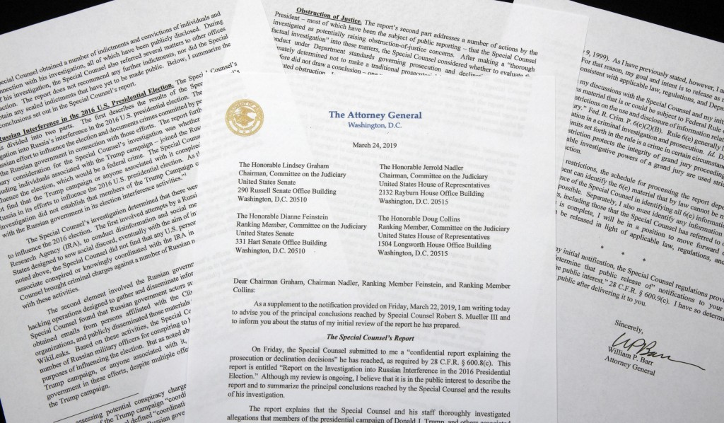 A copy of a letter from Attorney General William Barr advising Congress of the principal conclusions reached by Special Counsel Robert Mueller, is sho...