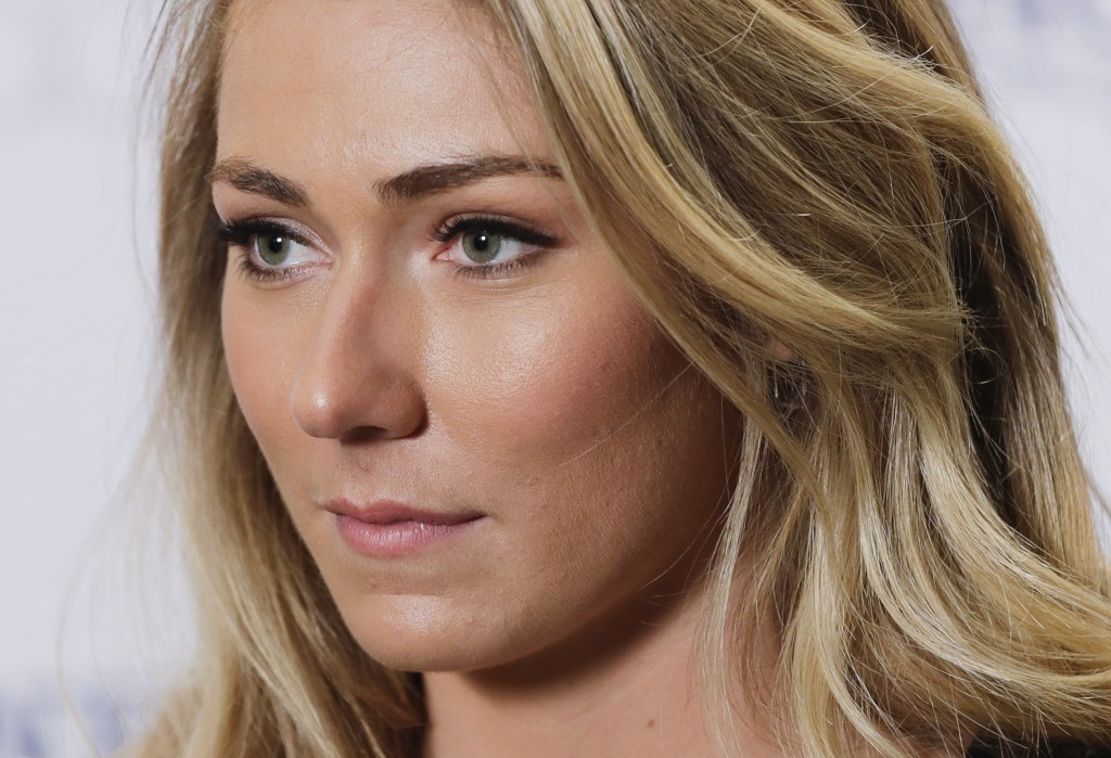Mikaela Shiffrin responds to questions during a news interview Thursday, March 21, 2019, in New York.  The 24-year-old American spent time in New York...