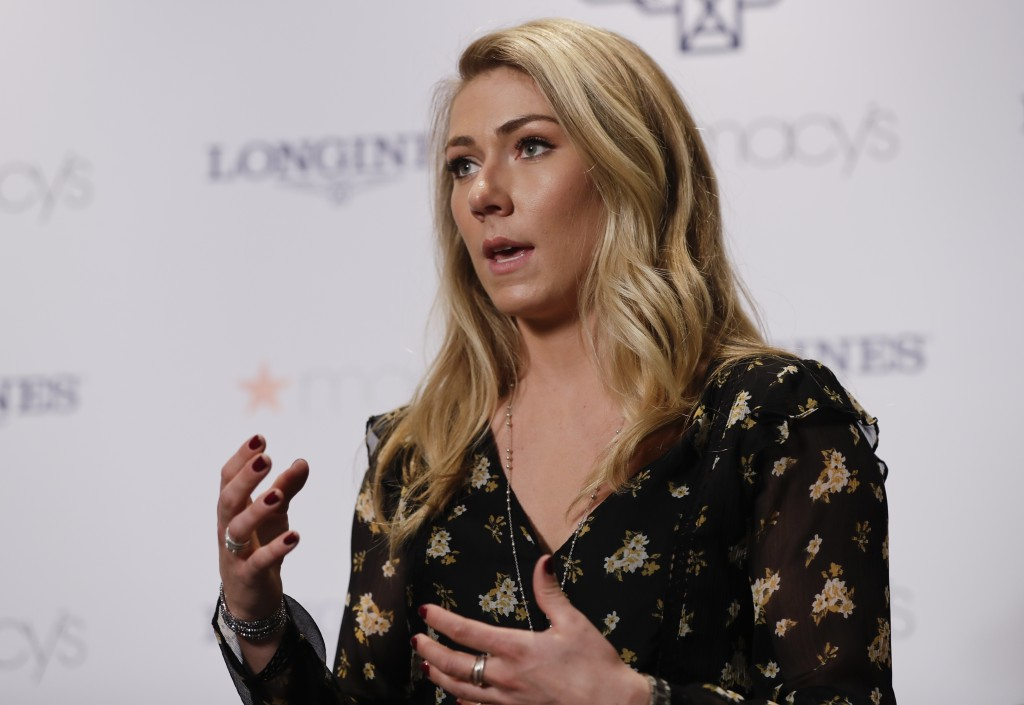 Mikaela Shiffrin responds to questions during a news interview Thursday, March 21, 2019, in New York.  The 24-year-old American spent time in New York
