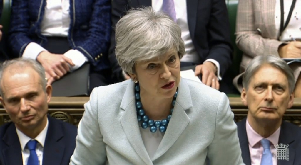 Britain's Prime Minister Theresa May makes a statement on Brexit to lawmakers in the House of Commons, London, Monday March 25, 2019.  May is under in...