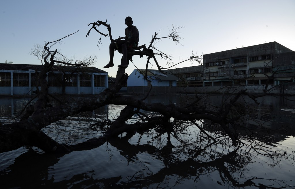 A young boy sits on a fallen tree outside a school in Beira, Mozambique, Monday, March 25, 2019. The United Nations is making an emergency appeal for