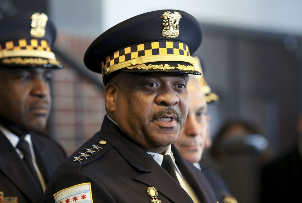 Chicago Police Superintendent Eddie Johnson speaks during a news conference Tuesday, March 26, 2019, after prosecutors abruptly dropped all charges ag...