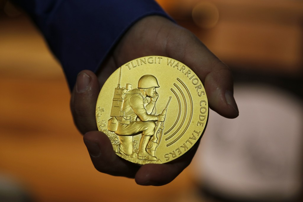 This Nov. 22, 2016, photo provided by Sealaska Heritage Institute of Juneau, Alaska, shows a Congressional Gold Medal awarded to Alaska's Tlingit trib...