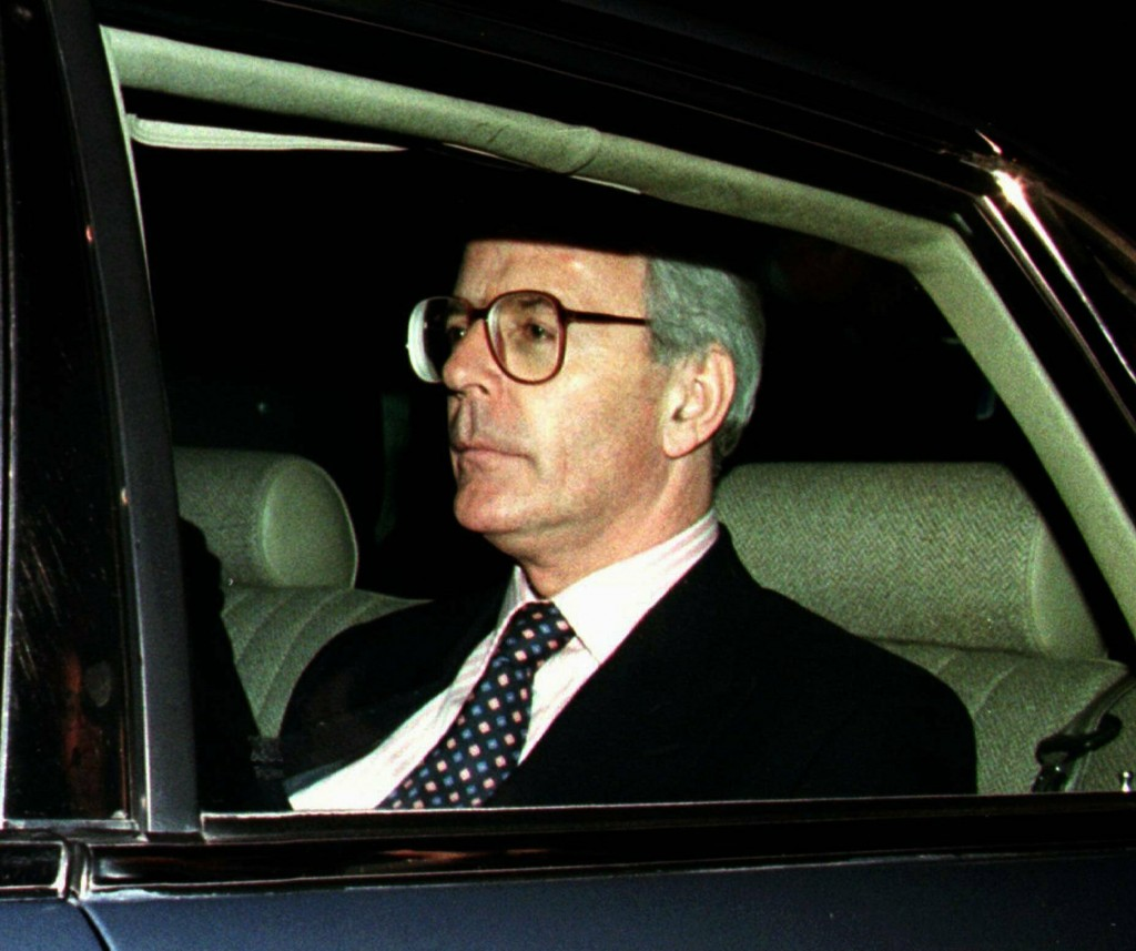 FILE - In this Friday May 2, 1997 file photo, British Prime Minister John Major drives away after retaining his parliamentary seat in the general elec