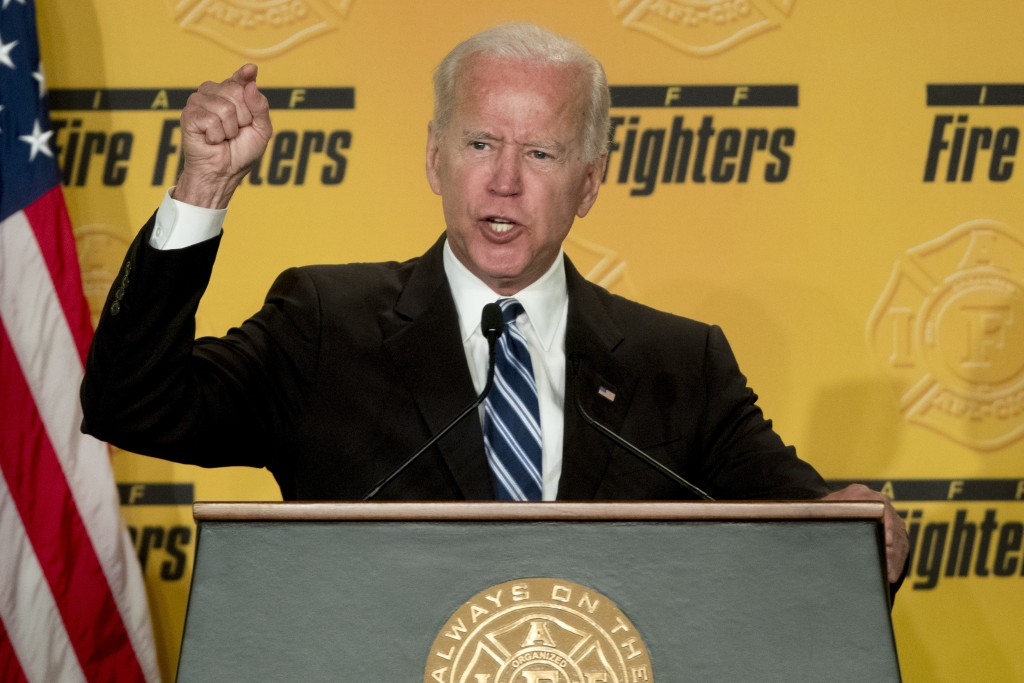 FILE - In this March 12, 2019, file photo, former Vice President Joe Biden speaks to the International Association of Firefighters at the Hyatt Regenc