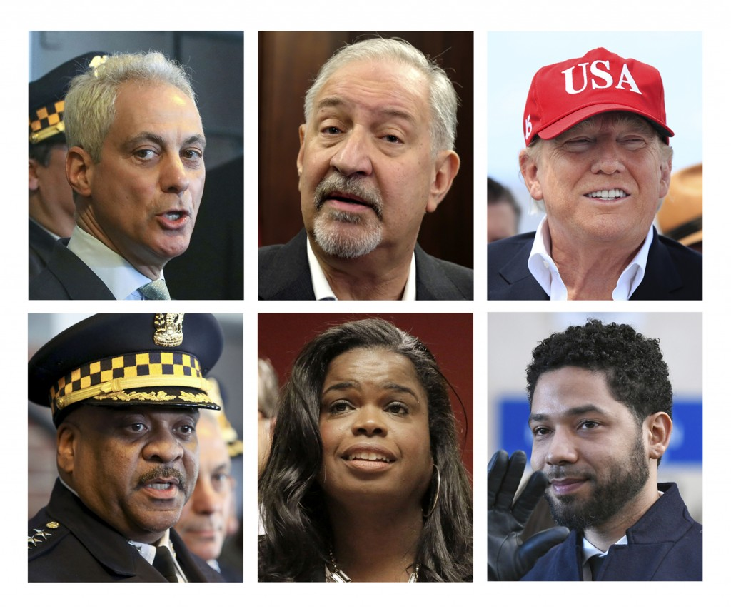 This comboination of file photos shows, from top left clockwise, Chicago Mayor Rahm Emanuel, attorney Mark Geragos, President Donald Trump, actor and ...