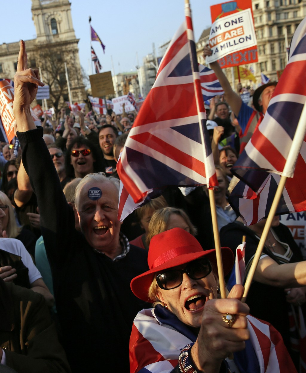 "Pro-Brexit leave the European Union supporters attend a rally in Parliament Square after the final leg of the ""March to Leave"" in London, Friday, Marc..."