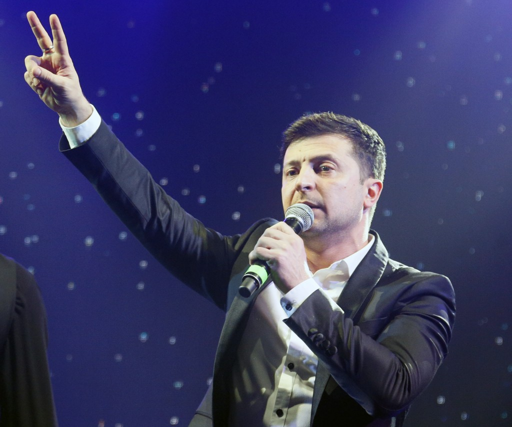 Volodymyr Zelenskiy, Ukrainian actor and candidate in the upcoming presidential election, hosts a comedy show at a concert hall in Brovary, Ukraine, F
