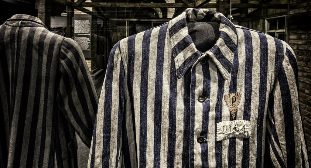 In this April 27, 2018 photo provided by Musealia Entertainment SL, a shirt worn by a political prisoner at the Auschwitz concentration camp is shown ...