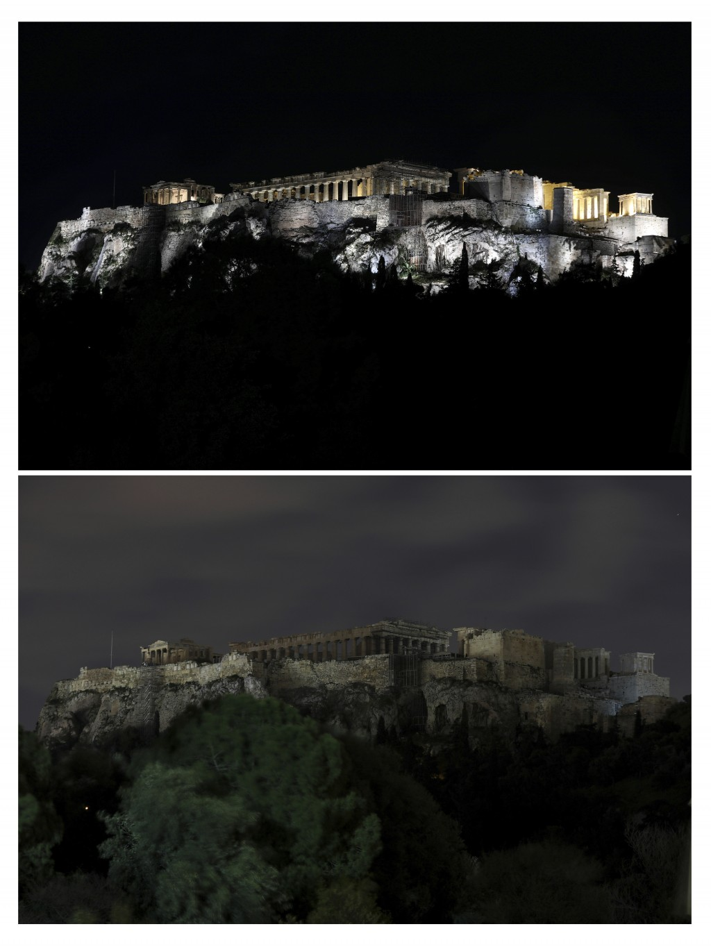 This combination of photos show the Acropolis hill before and after having its lighting switched off to mark Earth Hour in Athens, on Saturday, March ...