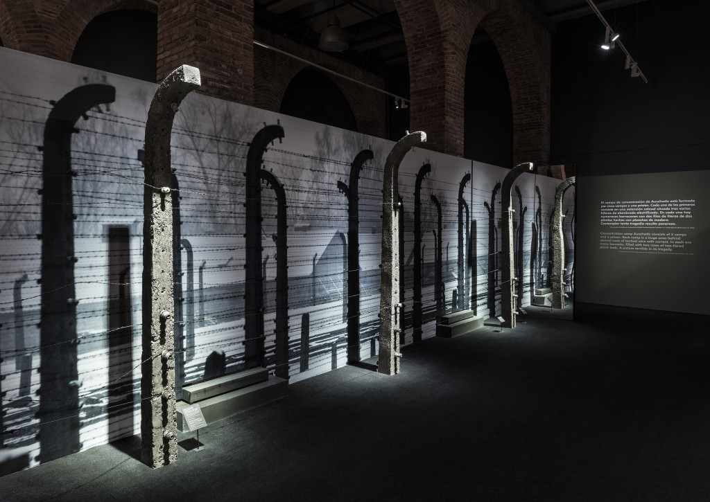 In this Feb. 13, 2018 photo provided by Musealia Entertainment SL, concrete posts topped with barbed and electrified wires from the Auschwitz concentr...